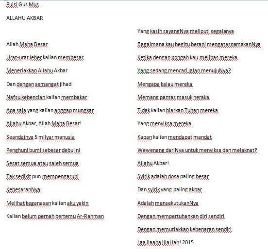 Puisi Gus Mus