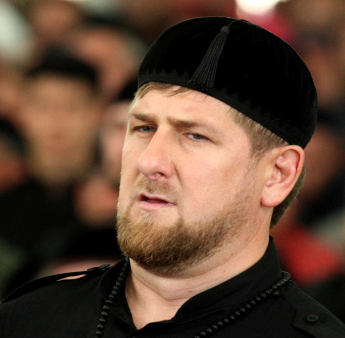 2430861 05/16/2014 Head of Chechnya Ramzan Kadyrov during the Friday prayer at the opening ceremony of the Aimani Kadyrova Mosque in Argun. Said Tcarnaev/RIA Novosti