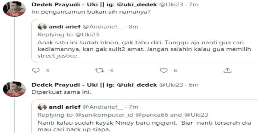 "Cuitan Ancaman ""Street Justice"" Andi Arief ke Akun Twitter @Uki23"